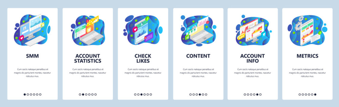 Content marketing website and mobile app onboarding screens vector template