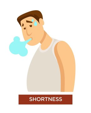 Person experiencing shortness of breath symptom and difficulty breathing