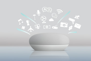 Smart Home assistant device, Virtual assistant, AI, Home control IOT,