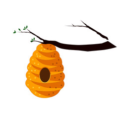 Bee Hive on Tree Branch - Cartoon Vector Image