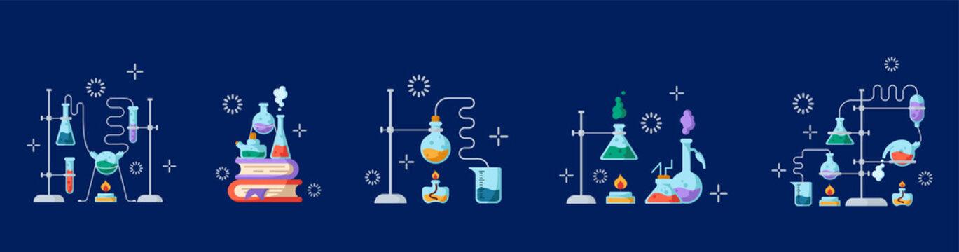 Laboratory Flasks Icon Set