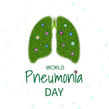Poster World pneumonia day, banner with the image of the lungs with the texture of grass and flowers. Vector illustration