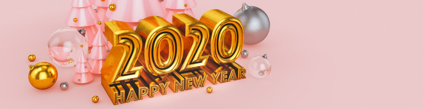 Happy New Year 2020 in pink and gold