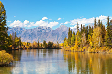 Photo sur Aluminium Miel Tranquil beautiful autumn landscape with a reflection of yellowed trees and a mountain range in a wide river on a sunny day. Siberia, Baikal region, Eastern Sayan, Buryatia, Tunka Valley, Irkut River