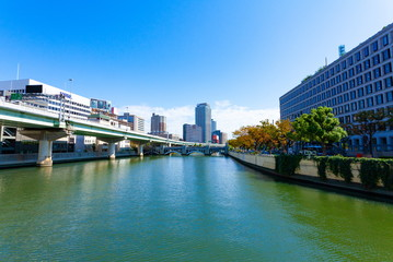 Garden Poster Napels 堂島川の風景、大阪市北区中之島にて
