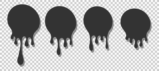 Dripping round paint set, liquid ink splash and drops. Melted circle vector image.