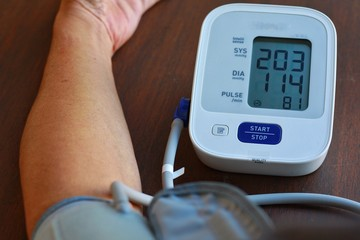 Health check blood pressure and heart rate at home with digital pressure found very high blood pressure test results.Hypertesive Urgency.Need some medicine.Health and Medical concept.