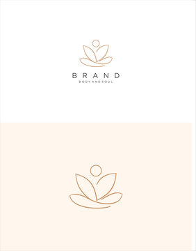 Lotus  Yoga Logo Design Inspiration . Meditation Lotus Yoga Logo Design