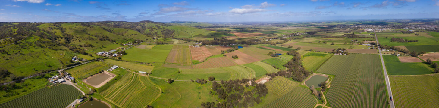 Panoramic aerial view towards Tununda in the famous wine growing Barossa Valley region; many vineyards arre clearly visible in the foreground