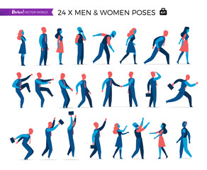 A set of vector male and female characters in different poses for business character animation. Vector illustration