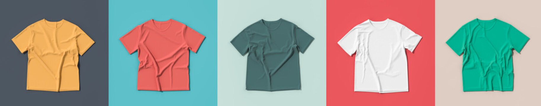 Colorful t-shirts on colorful background. t-shirt mock ups with five different colours.3D illustration