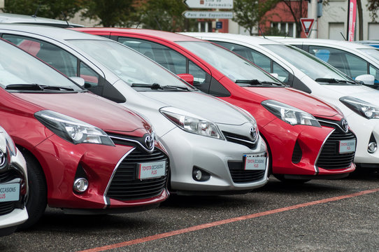 Mulhouse - France - 9 October 2019 - view of toyota cars alignment in retailer showroom
