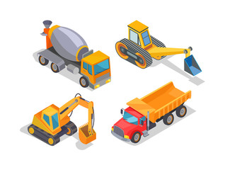 Excavator and cement mixer industrial machinery isolated icons vector. Digger loader and truck with container, bulldozer, transportation of goods