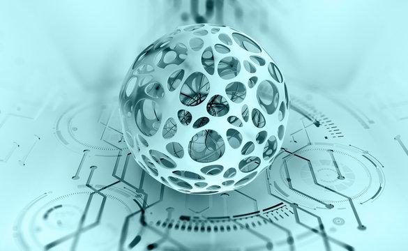 AI, digital mind, artificial intelligence, computer brain, quantum processor, CPU, neural networks. Digital database of future 3D illustration on a technological background