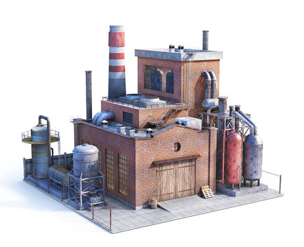 Pollution concept. Old factory isolated on white. Industry. 3d illustration