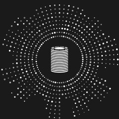 White Casino chips icon isolated on grey background. Casino gambling. Abstract circle random dots. Vector Illustration