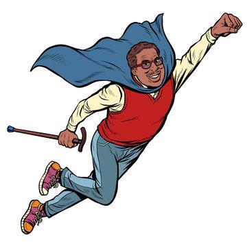 african man retired superhero. Health and longevity of older people