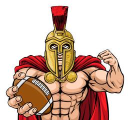 A Spartan or Trojan warrior American football sports mascot holding a ball