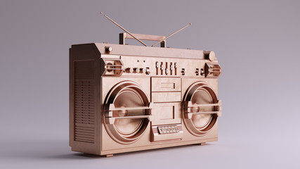 Door stickers Retro Bronze Boombox 3 Quarter Right View 3d illustration 3d render