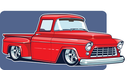 Fototapeta Vector illustration of a red tuning pickup. Old-fashioned American muscular pickup red pickup. Vintage American 50's dream car. obraz