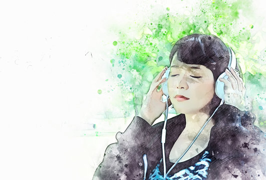 Abstract colorful shape on beautiful girl listening music on watercolor illustration painting background.