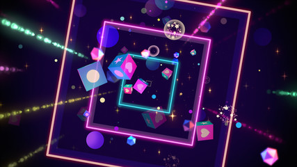 Neon cubes pop and glowing light streaks. 3d rendering picture.
