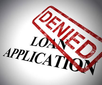 Loan application denied form means funding turned down - 3d illustration
