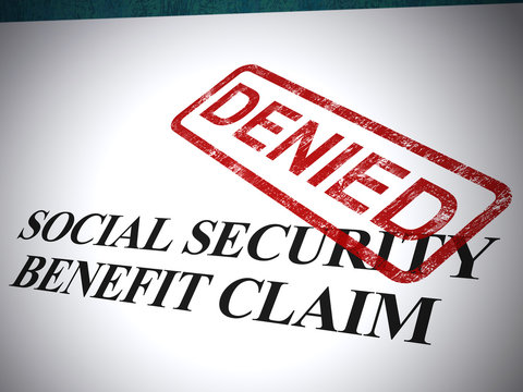 Social security benefit claim denied or refused - 3d illustration