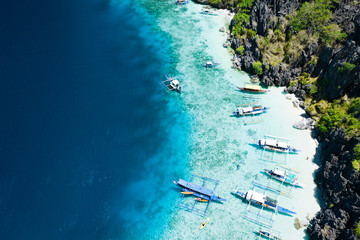 Aerial view of beautiful lagoons and limestone cliffs of El Nido, Palawan, Philippines