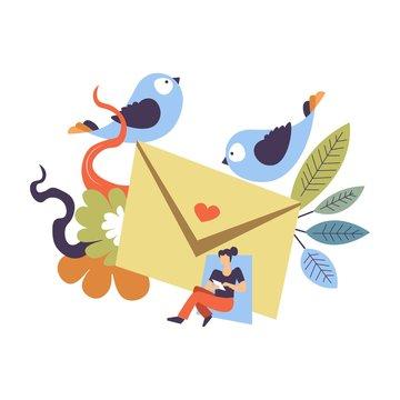 Relationship themed receiving love letter concept illustration