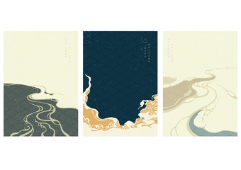 Chinese template with wave pattern vector. Cloud elements and water surface background.