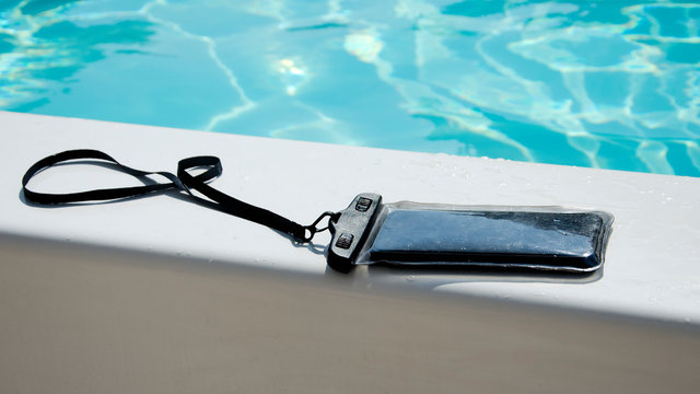 waterproof case on a smartphone for taking pictures under water