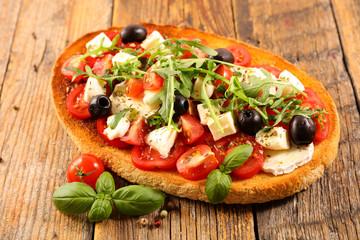 sandwich with tomato, mozzarella and basil- bruschetta