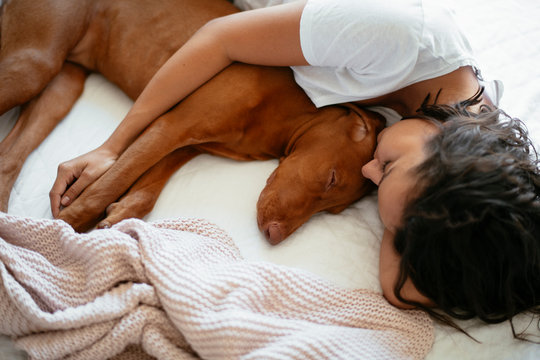 Close up young woman sleeping with dog in bed