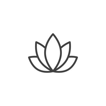 Lotus flower line icon. linear style sign for mobile concept and web design. Aromatherapy and spa therapy outline vector icon. Spa salon symbol, logo illustration. Vector graphics