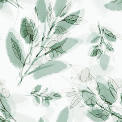 Leaves seamless pattern. Hand drawn floral elements on watercolor background.