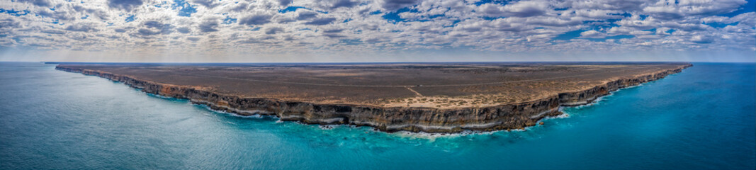 Panoramic aerial view of the sea cliffs at the Great Australian Bight, some of the longest unbroken sea cliffs in the world