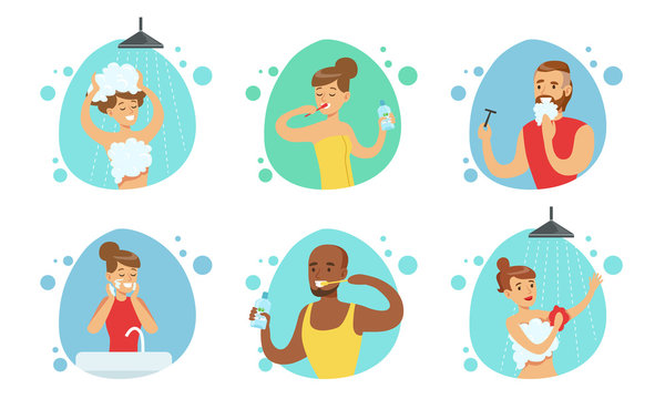 People Doing Bathroom Procedures Set, Male and Female Characters Morning Daily Routine Vector Illustration
