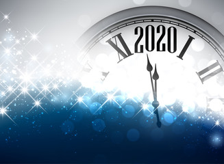 Blue shining 2020 New Year background with clock.