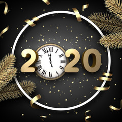 Black shiny happy New Year background with 3d 2020 nubmers and clock.