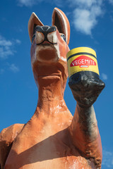 SA WA border crossing South Australia September 14th 2019 : Sculpture of two Australian icons, a red kangaroo holding a jar of Vegemite spread at the SA WA border crossing