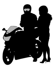Fototapete - Beauty women and man on bike on white background