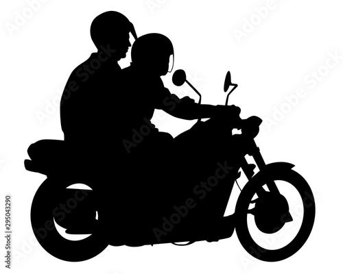 Wall mural Beauty women and man on bike on white background