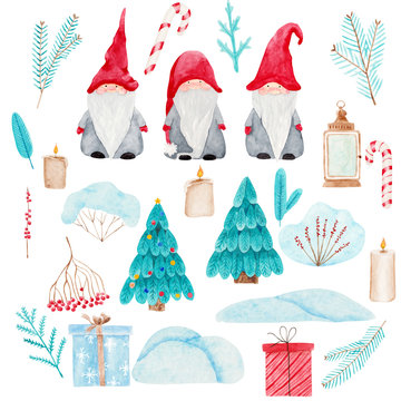 Watercolor Christmas set with Scandinavian gnomes. Beautiful illustrations of Nordic folklore creatures Nisse, Christmas trees, fir and berries branches, snowdrifts, candles, golden lantern, gifts.