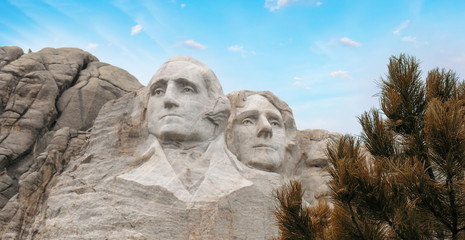 Fototapete - Mount Rushmore National Monument in South Dakota. Summer day with sunset skies.