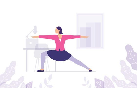 concept of yoga women in the office