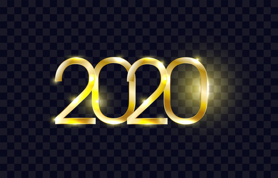 2020 New Year Eve. Golden 3D text on black transparent background. luminous numbers. trendy template for your design. winter holiday design. greeting card. Vector illustration. eps10.