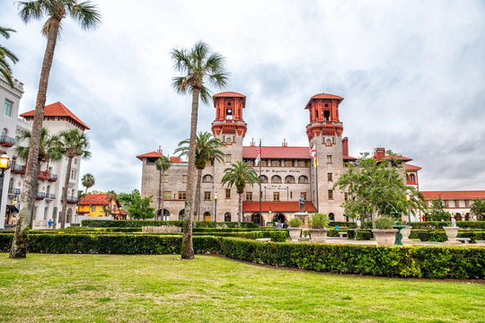 ST AUGUSTINE, FL - APRIL 4, 2018: Flagler Collage on a cloudy day. This is a famous tourist attraction
