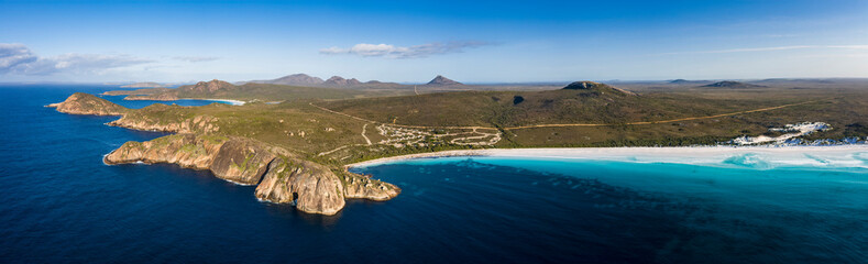 Aerial panorama of the beautiful turquoise waters and beach at Lucky Bay, located near Esperance in Western Australia