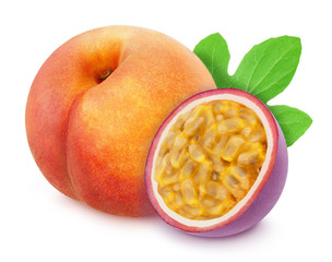 Composite image with whole and halved exotic fruits - peach and passion fruit isolated on white background. As design element.